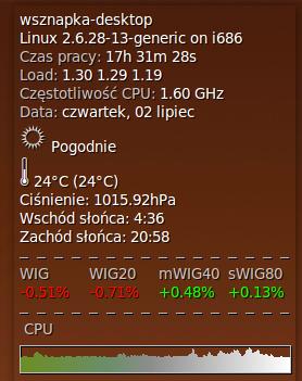 Conky używający skryptu wigwam.sh do prezentacji indeksów giełdowych