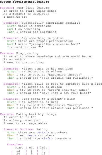 Export colored Behat scenarios to PDF